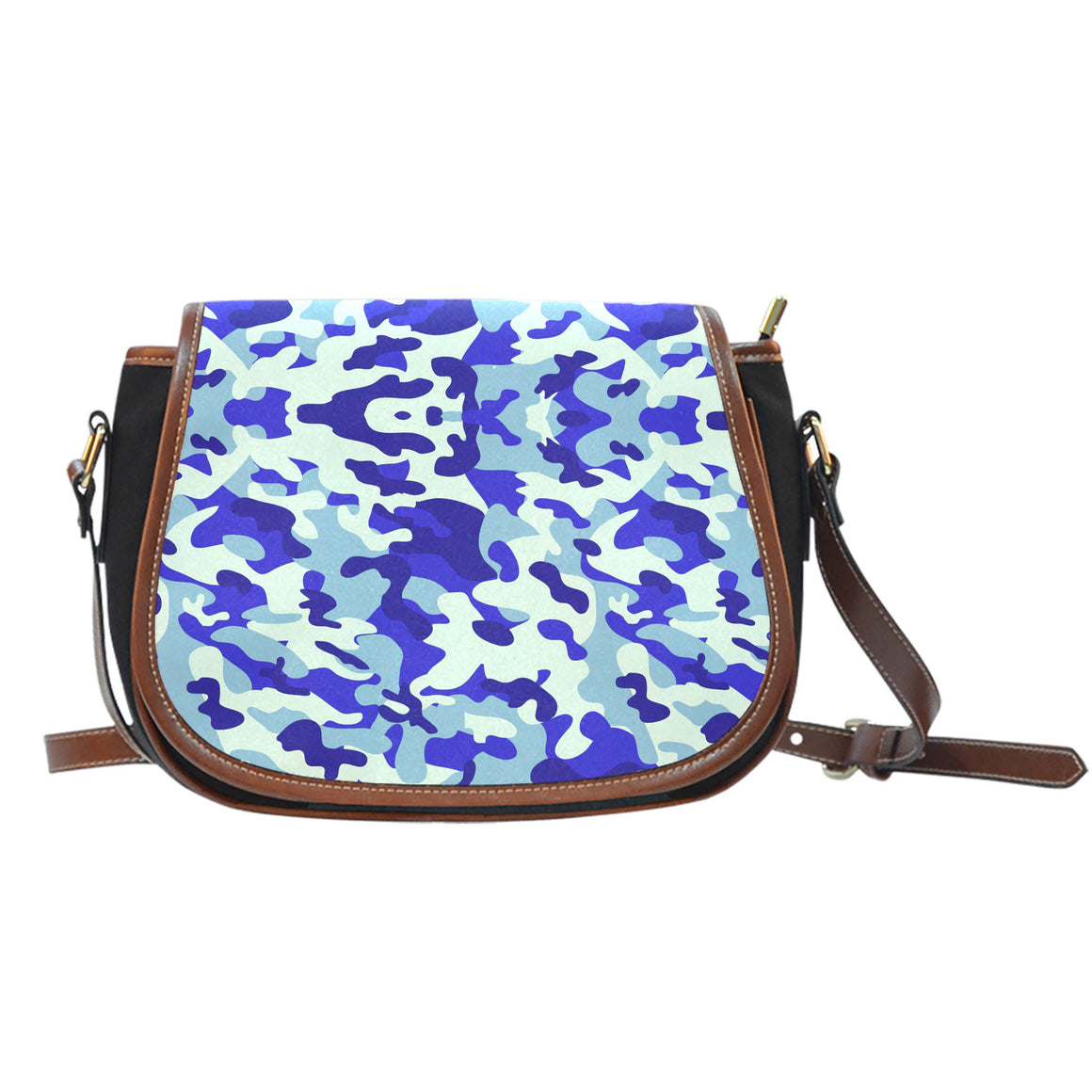 Blue Camouflage Canvas Saddle Bag