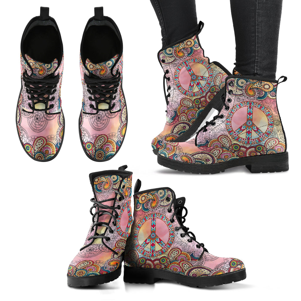 Watercolor Paisley Mandala 2 Handcrafted Boots