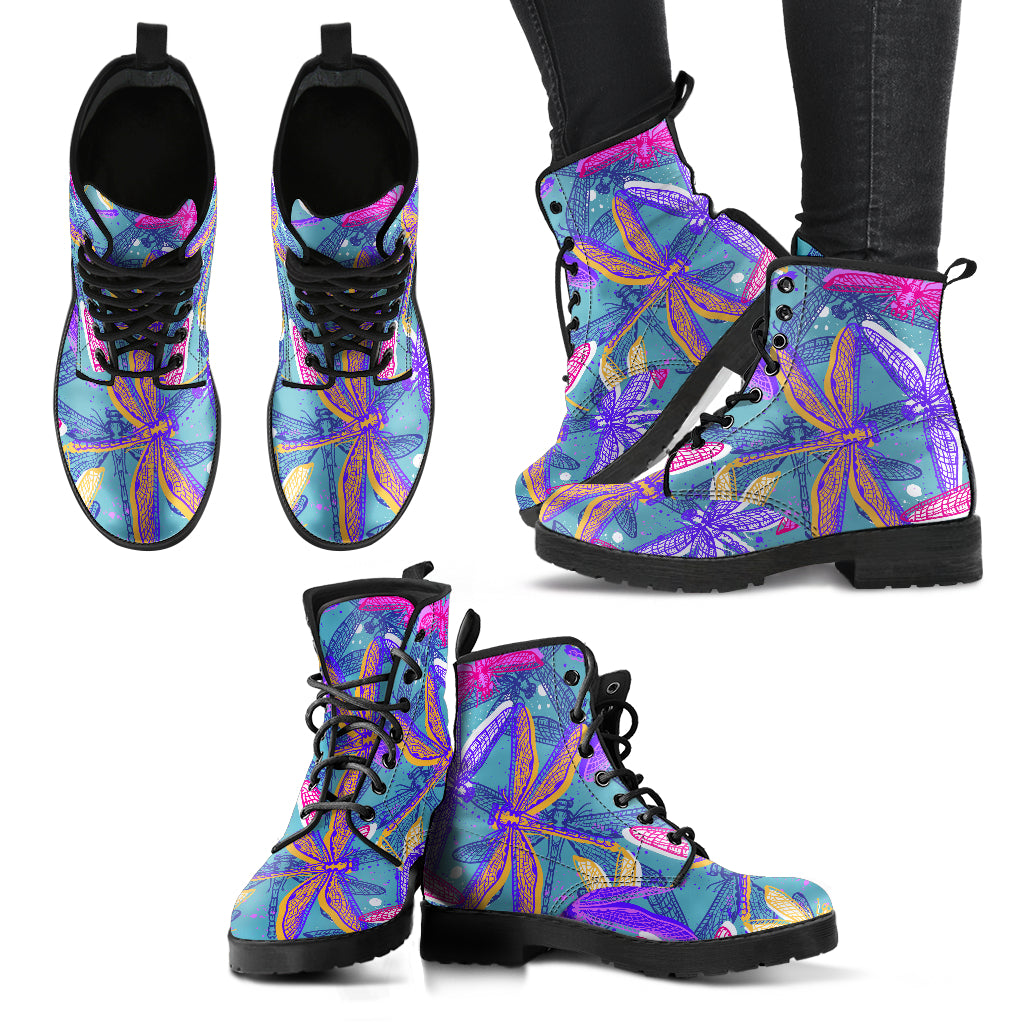 Handcrafted Dragonfly Pattern 5 Boots