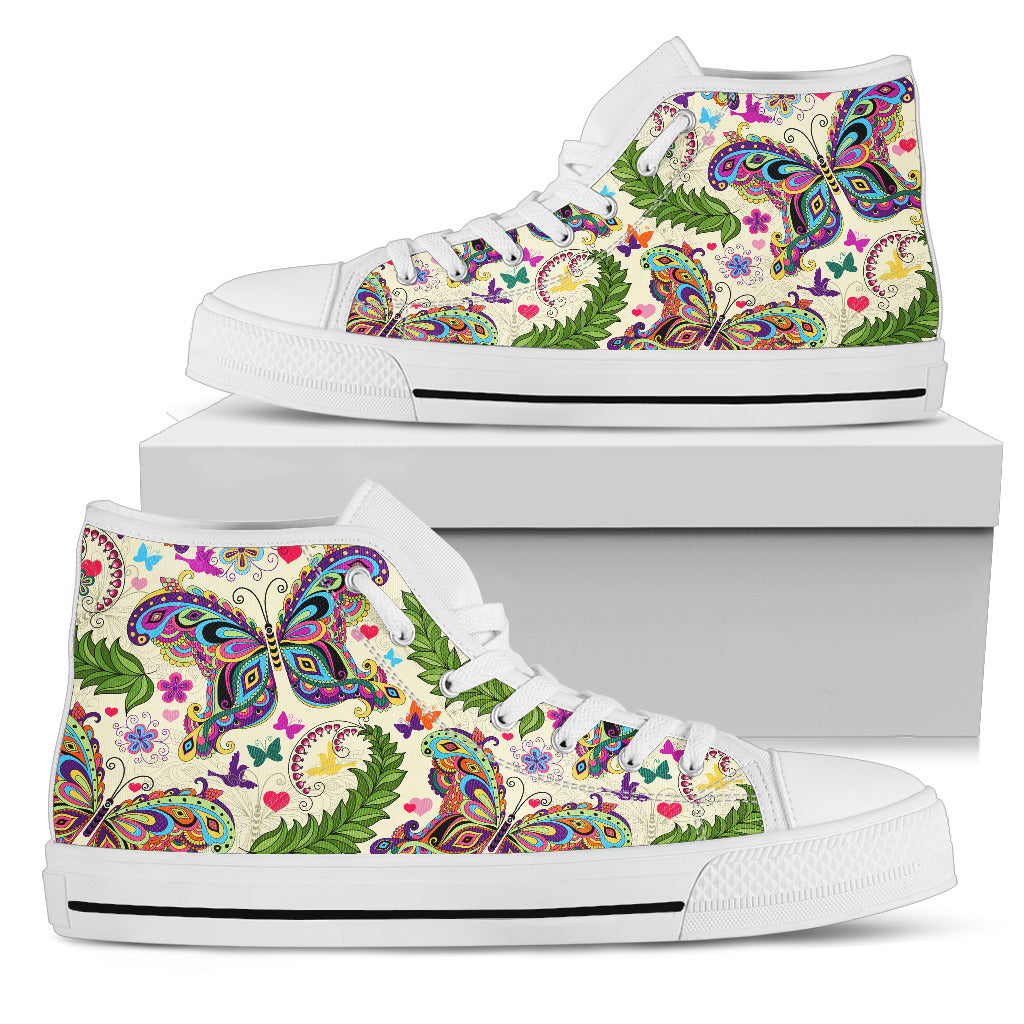 Butterfly High Top Shoes White