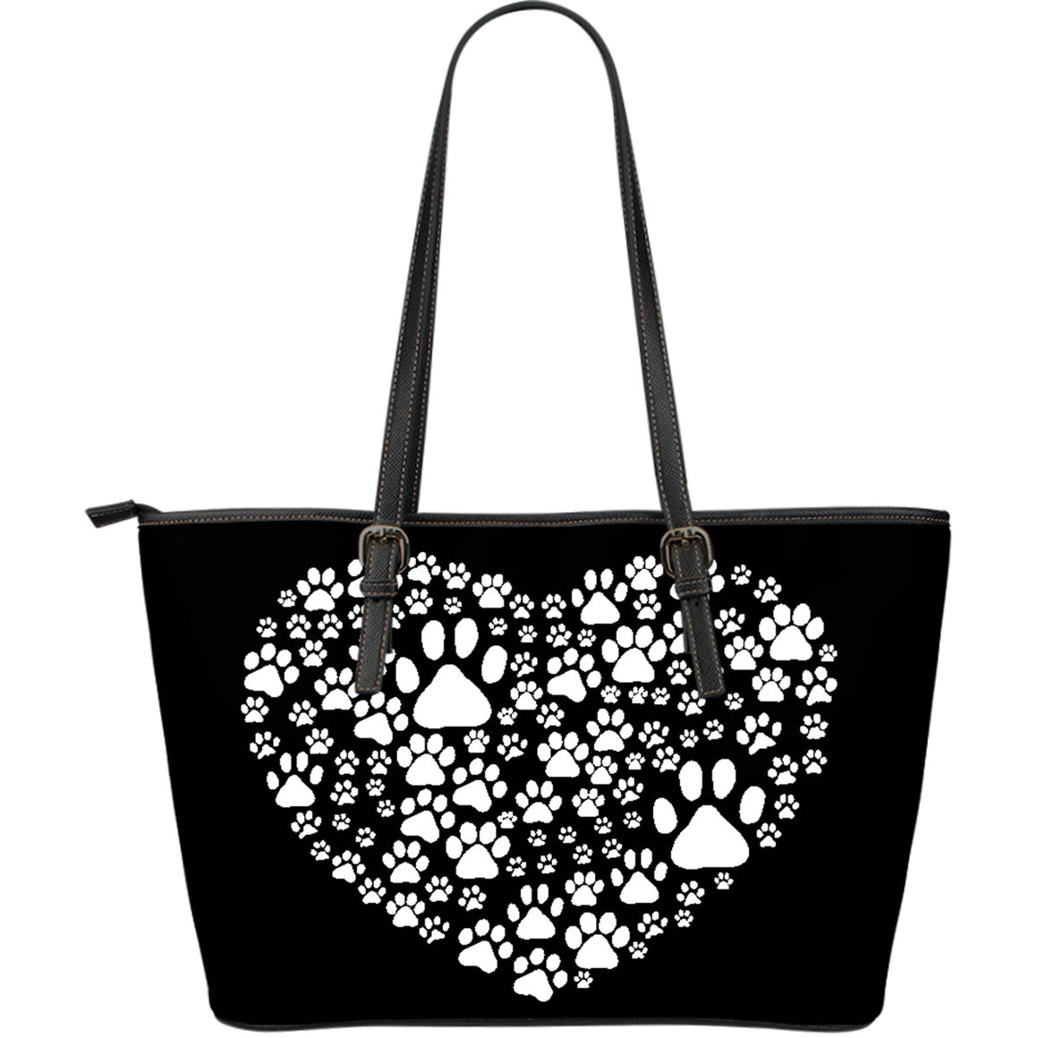 Paw Print Large Leather Tote