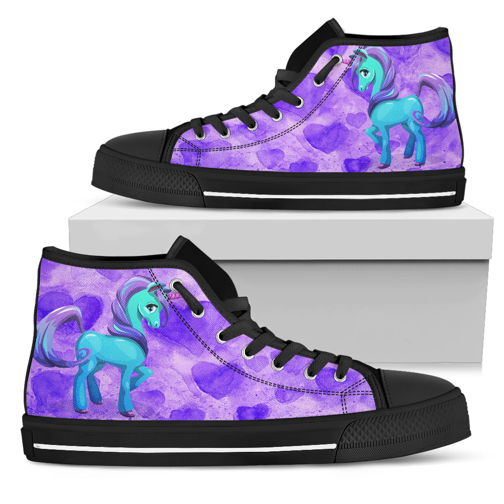 Unicorn Purple Womens High Top Shoes (black)