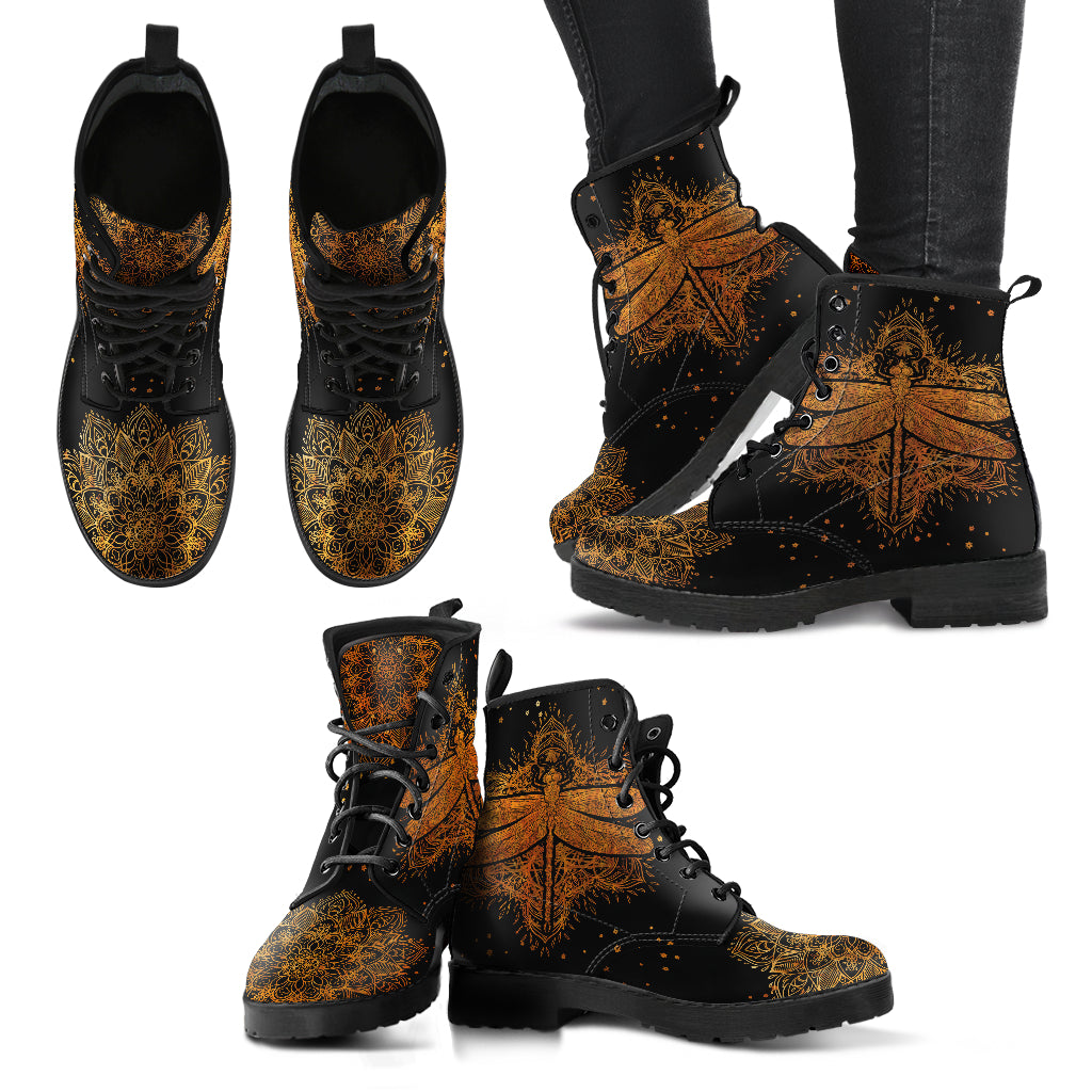 Rusty Gold Mandala Dragonfly Handcrafted Boots