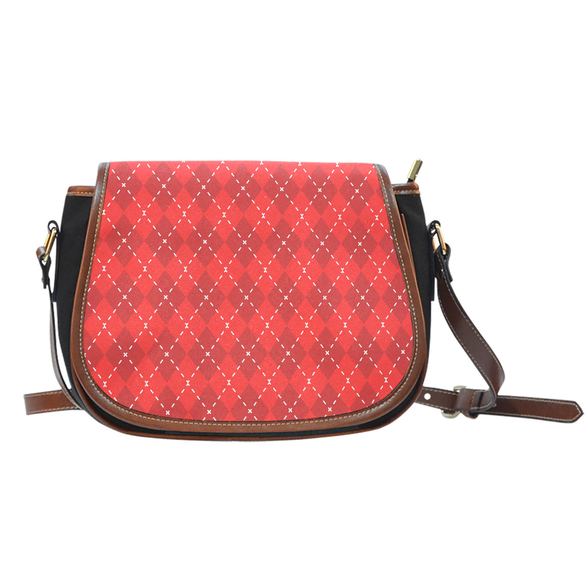 Red Argyle Black Canvas Leather Trim Saddle Bag