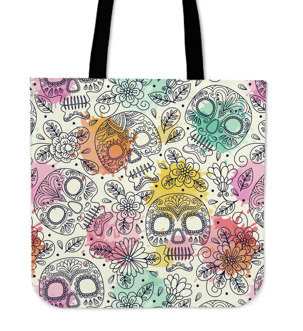 Pastel Sugar Skull Cloth Tote Bag