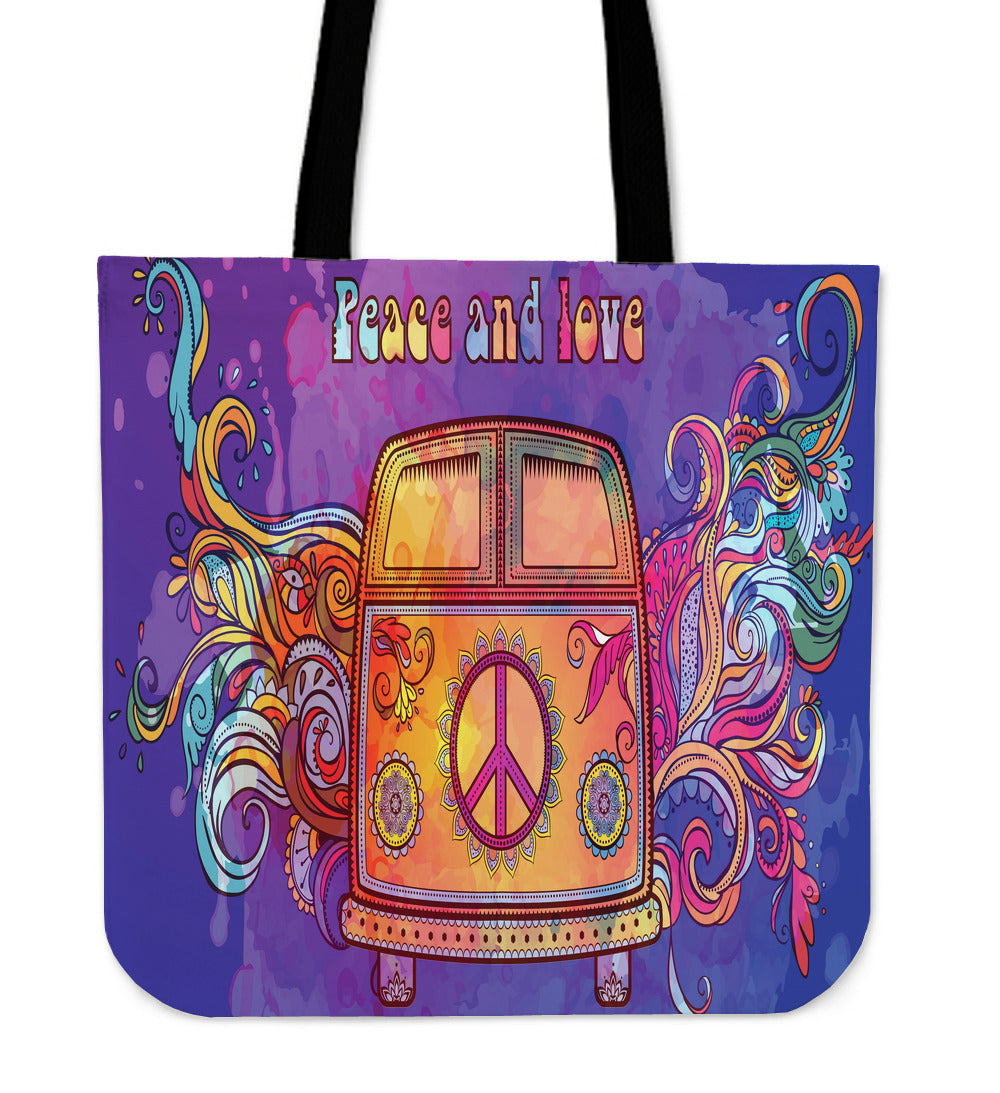 Peace & Love Cloth Tote Bag