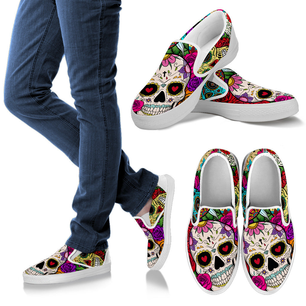 Sugar Skull Women's Slip On (White)
