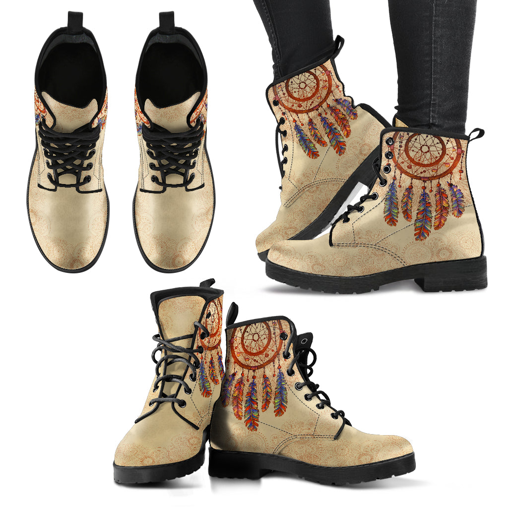 Beige Dream Catcher Handcrafted Boots