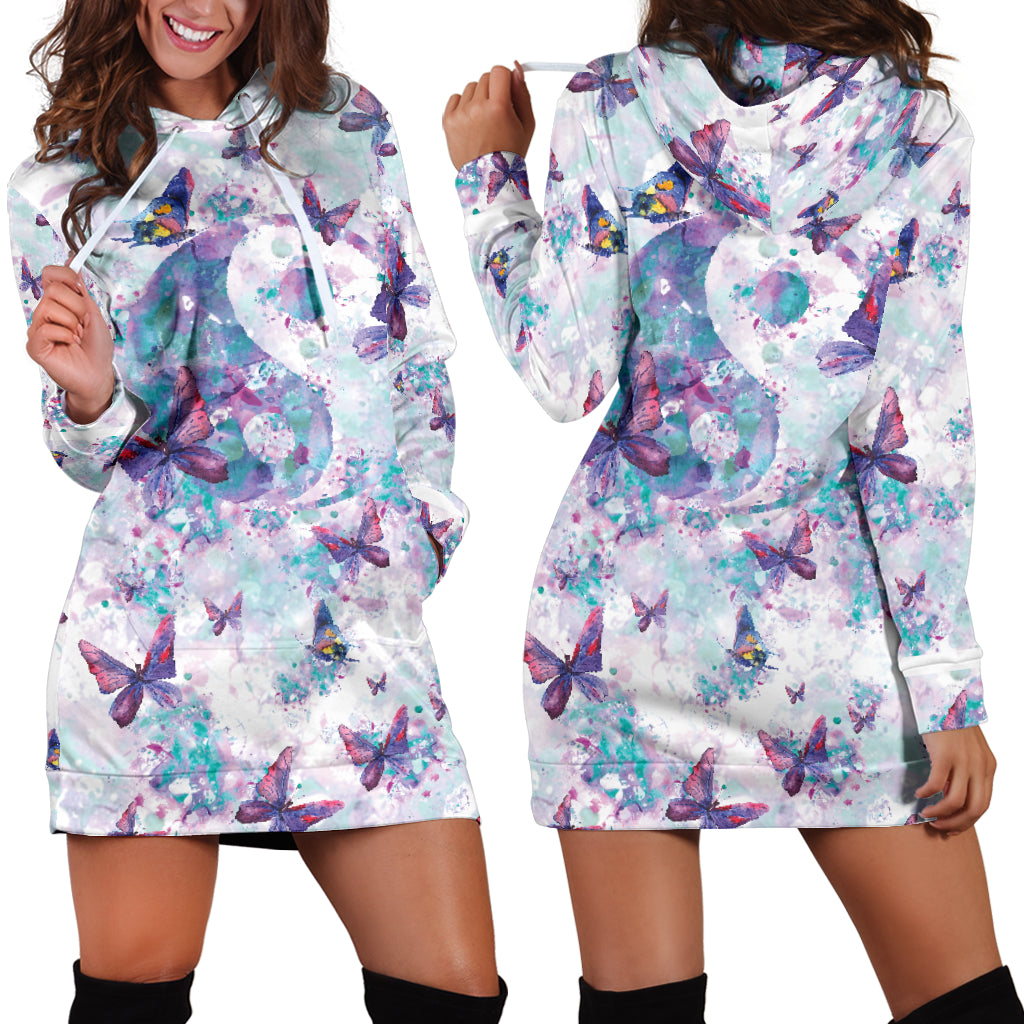 Yin Yang Butterfly Hoodie Dress
