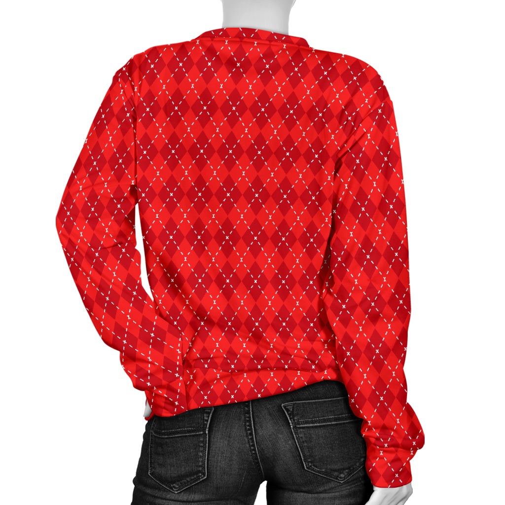 Red Argyle Women's Sweater