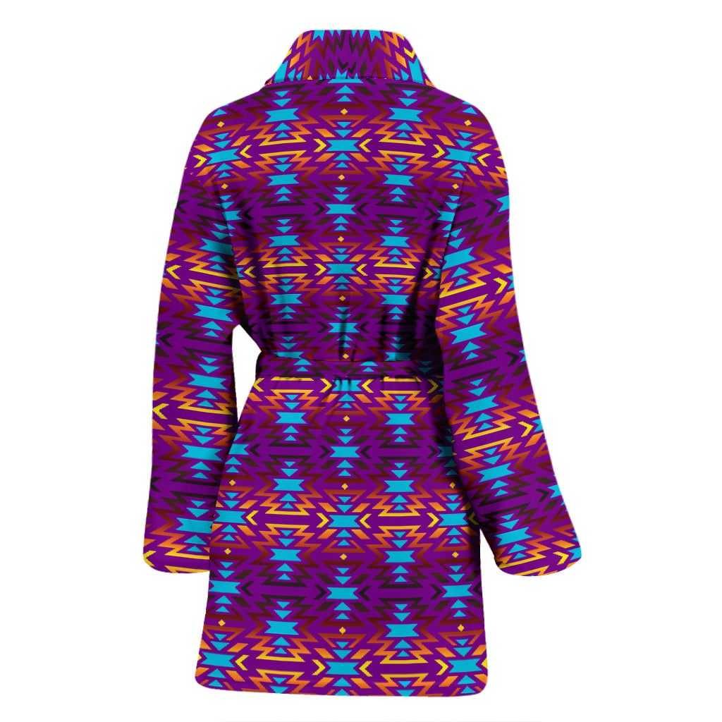 Fire Colors and Turquoise Purple Eagle Horizon Women's Bathrobe