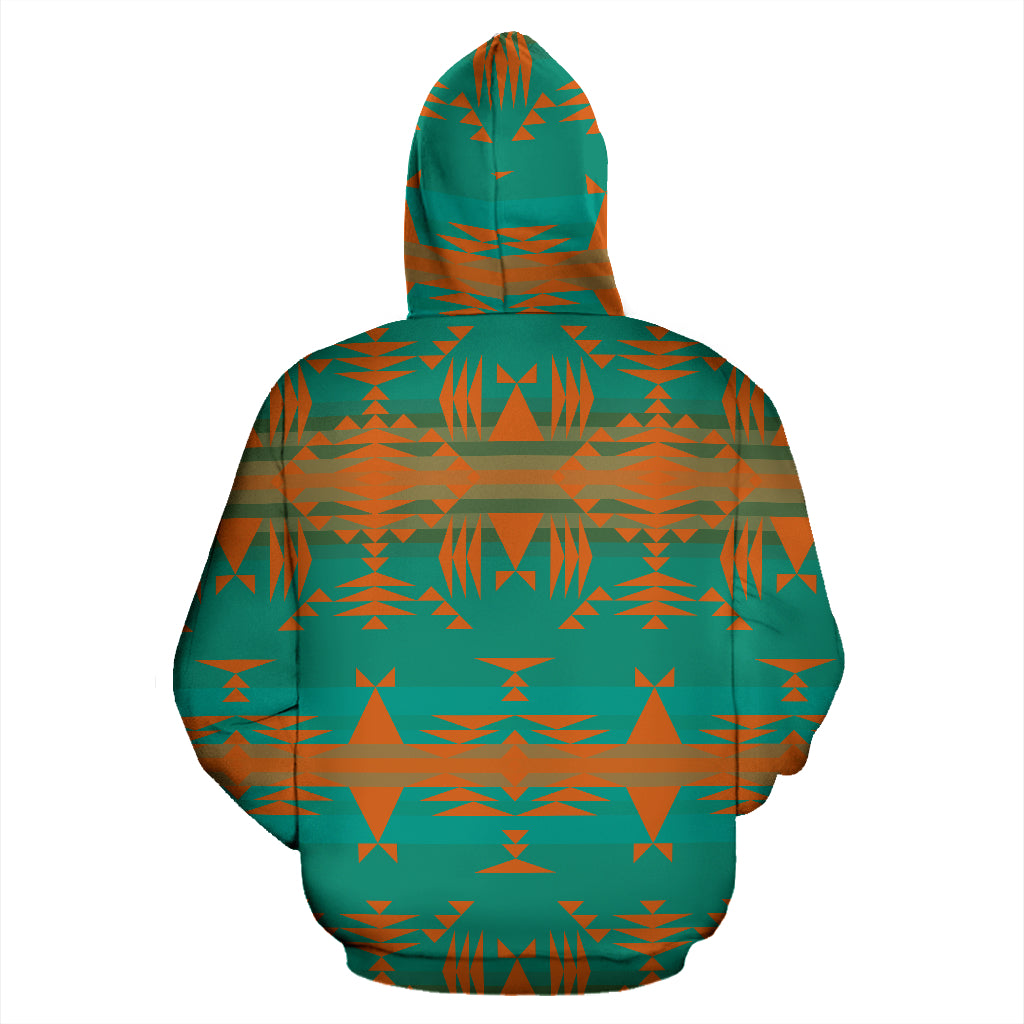 Between the Mountains Teal Orange Sokapi Zipper Hoodie