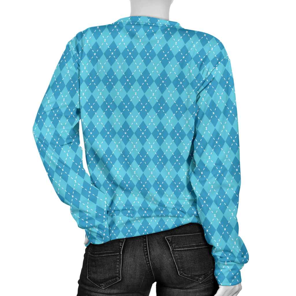 Blue Argyle Women's Sweater