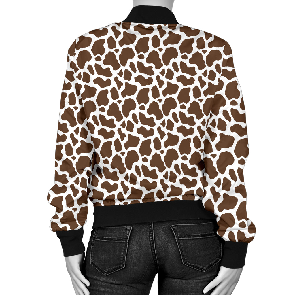 Brown Cow Print Women's Bomber Jacket