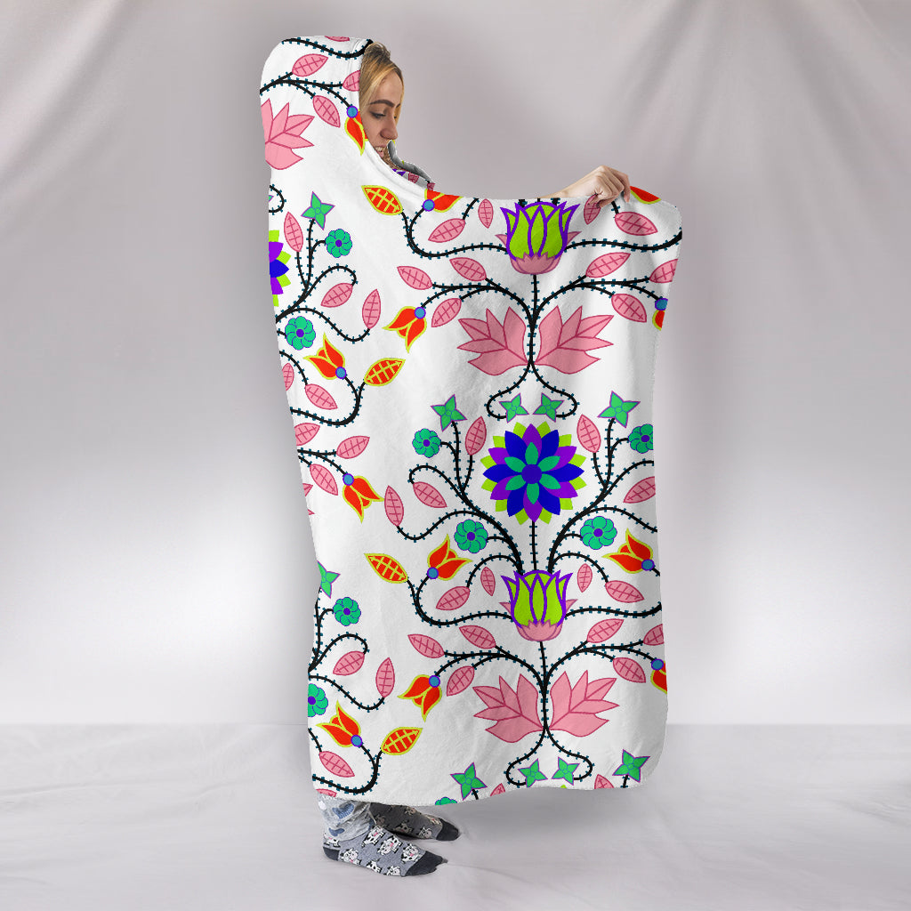 Floral Beadwork Four Clans White Hooded Blanket