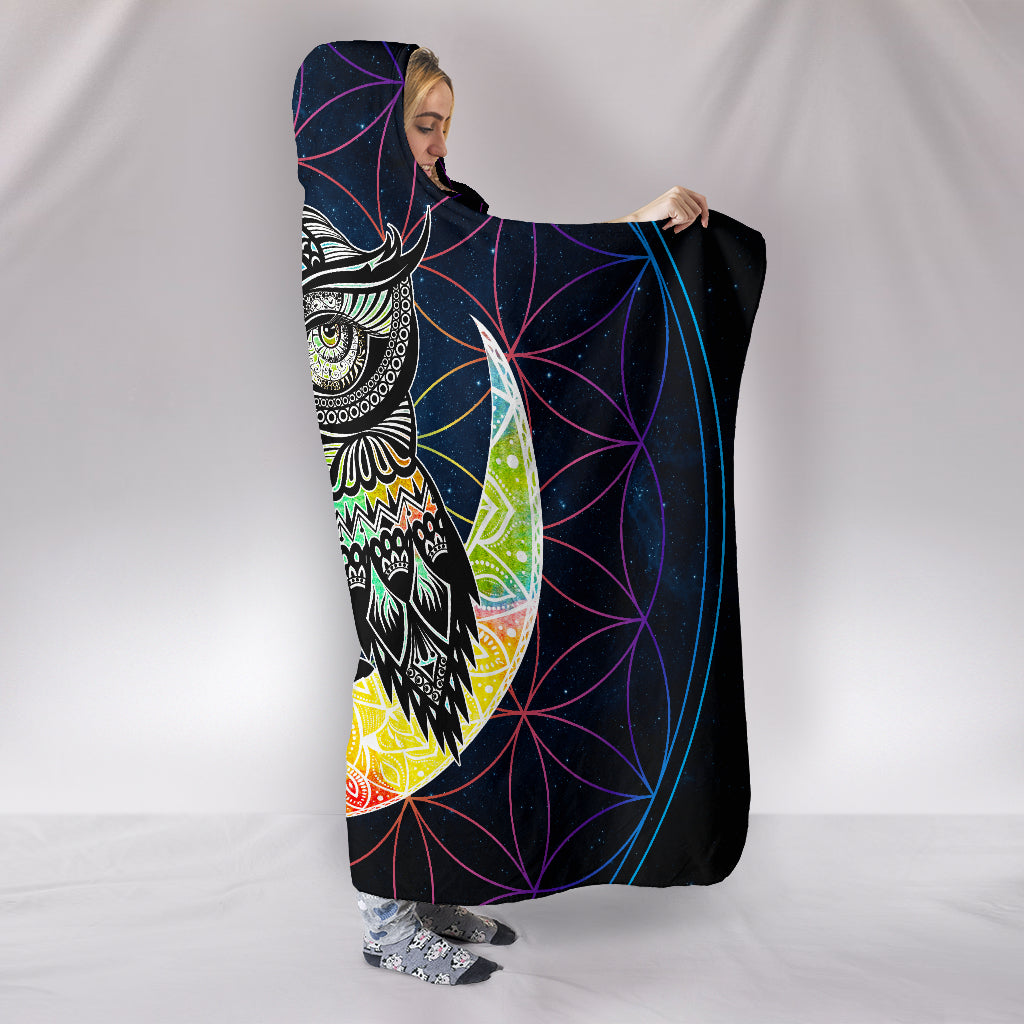 Colorful Owl Hooded Blanket