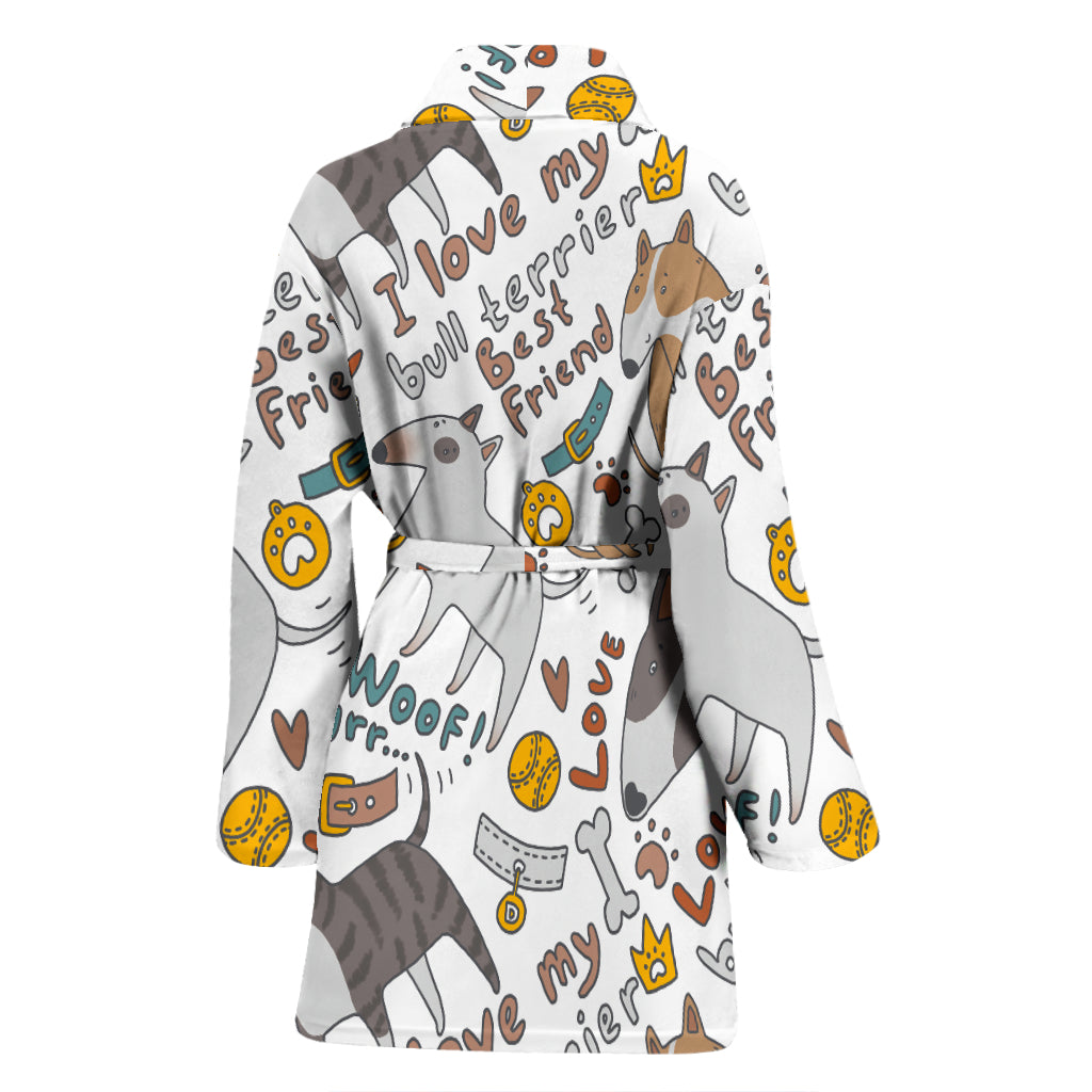 I Love My Bull Terrier Women's Bathrobe