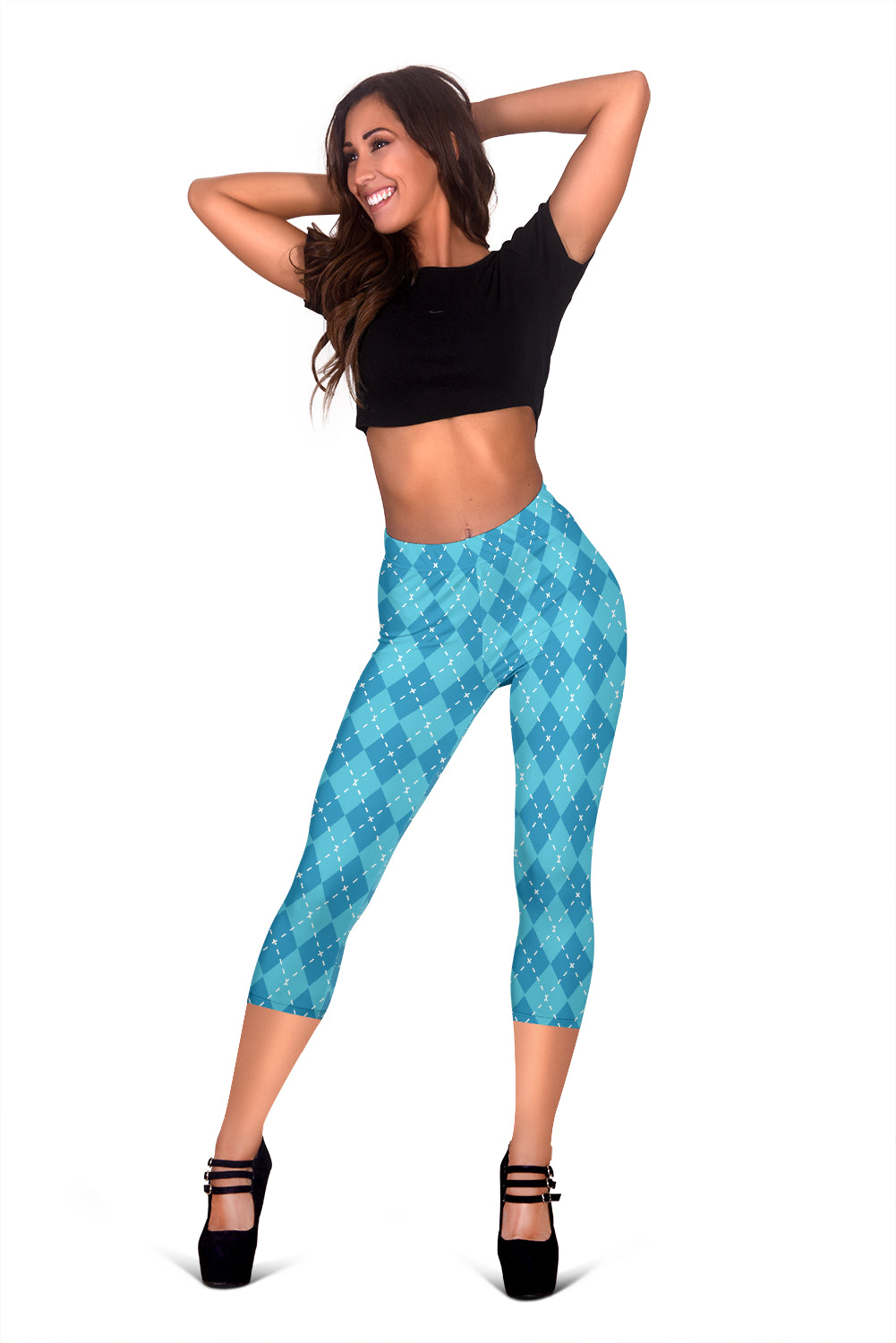 Blue Argyle Women's Capris Leggings