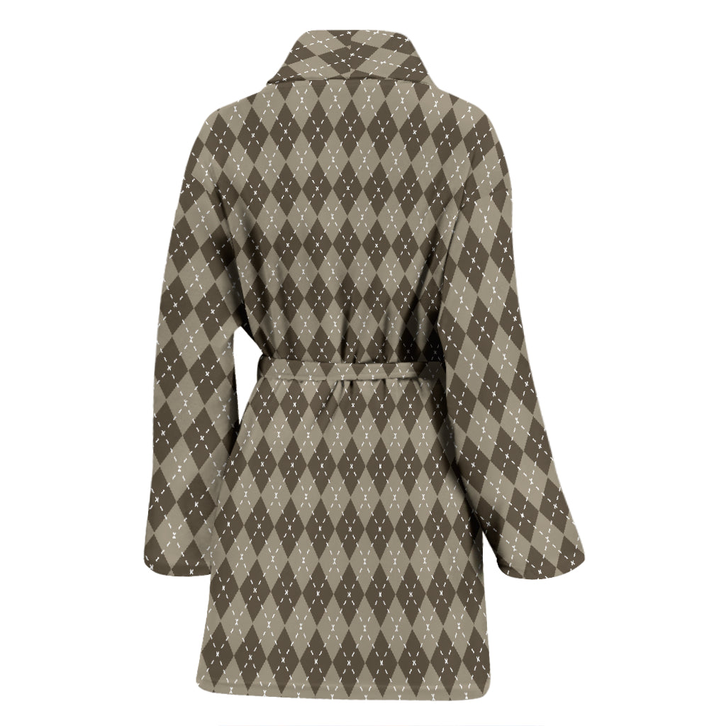 Chocolate Argyle Women's Bathrobe