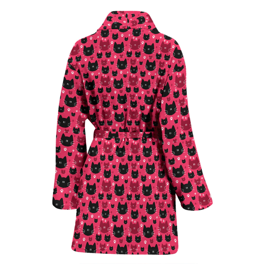 Red & Black Cat Women's Bathrobe
