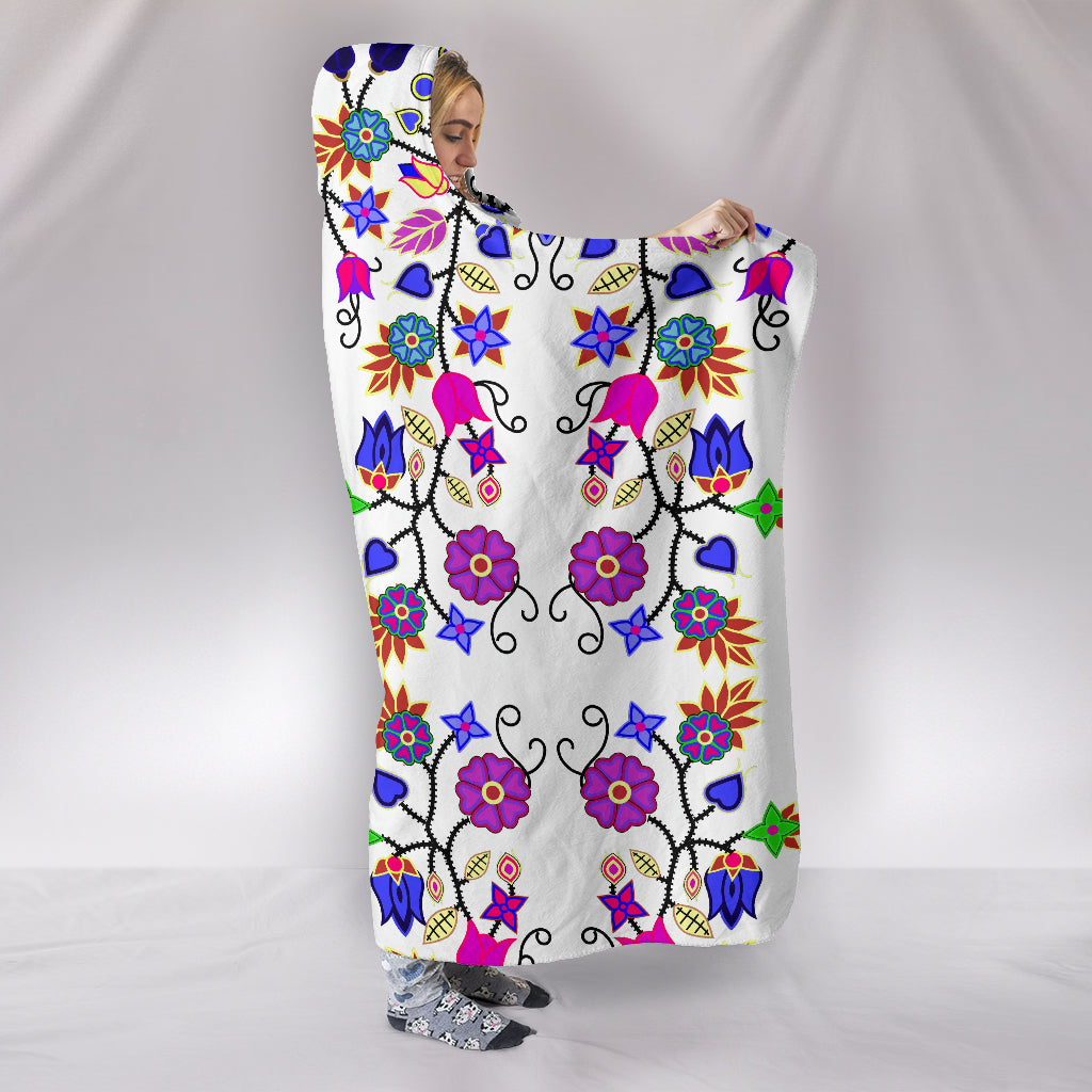 Floral Beadwork Seven Clans White Hooded Blanket