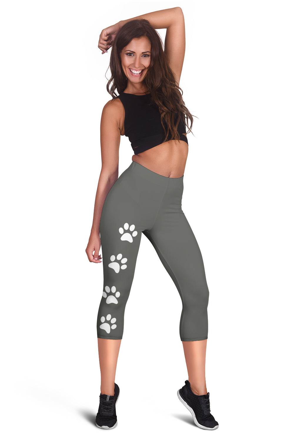 Dark Heather Paw Prints Capris Leggings
