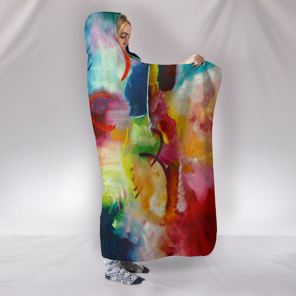 Blue Red Artwork Hooded Blanket