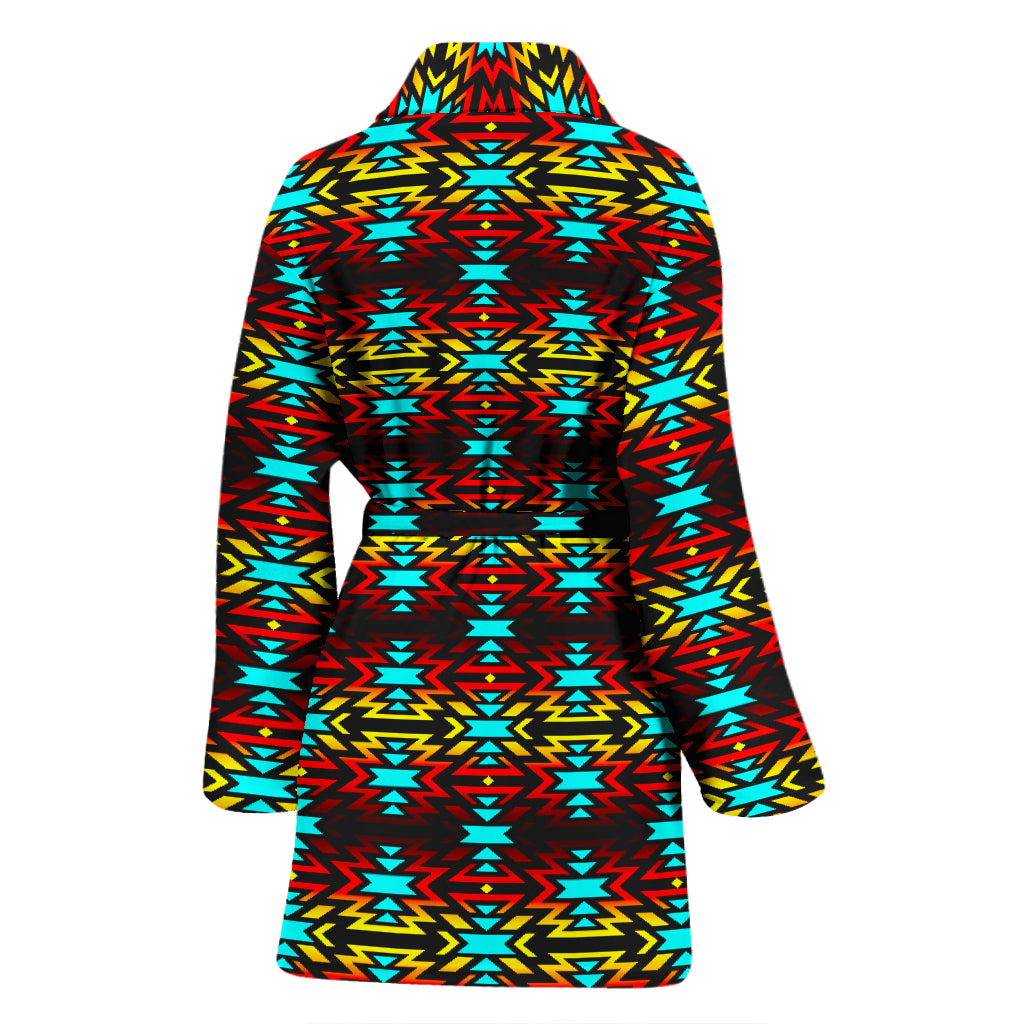 Fire Colors and Turquoise Grid with no Color Women's Bathrobe