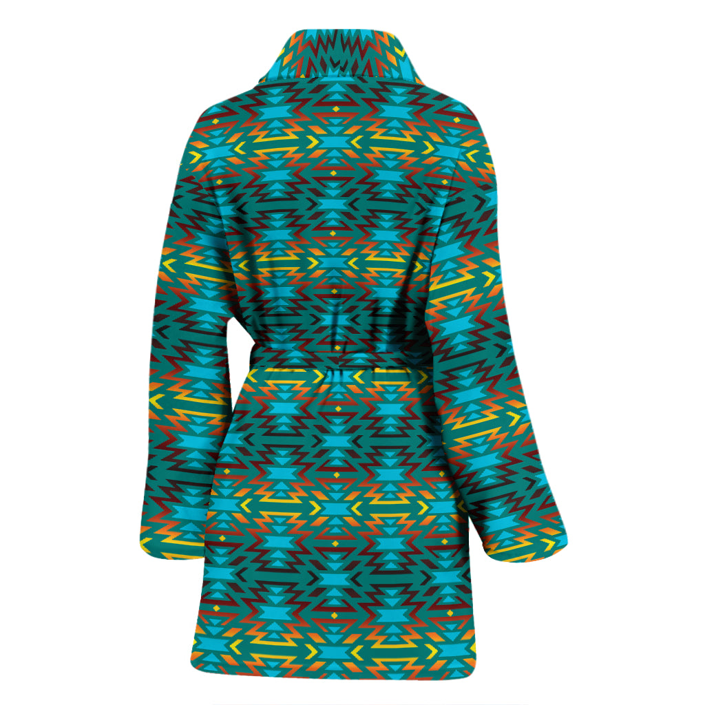 Fire Colors and Turquoise Teal Eagle Horizon Women's Bathrobe
