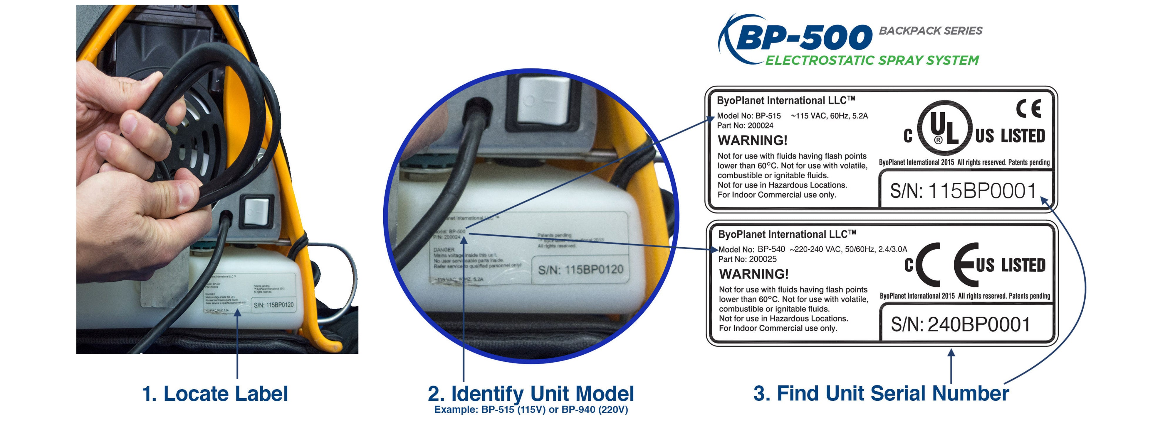 Find the Serial Number for Your BP-500™ Electrostatic Sprayer
