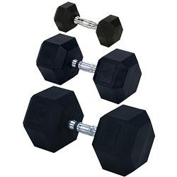 Rubber Encased Solid Hex Dumbbell 50lb