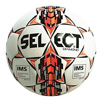 Select Diamond Soccer Ball - Black/Orange/White, Size 5