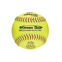 Worth 11 in. Green Dot Slow-Pitch Softballs (12-Pack)