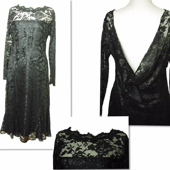 Black Lace Dress With Satin lining