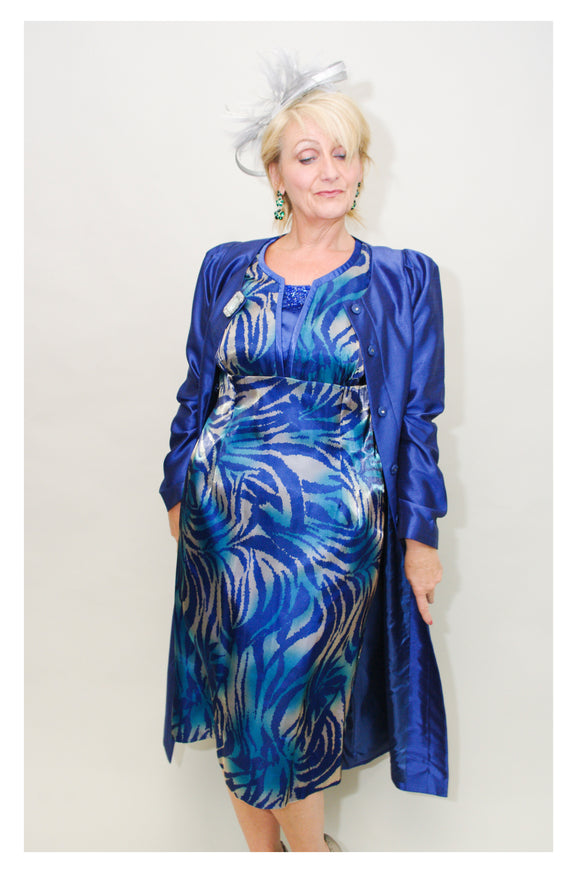 Blue Jacket with Organza Silk Dress - Vz Collection