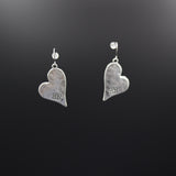Hammered Matt Finish Silver Heart Earrings - Vz Collection
