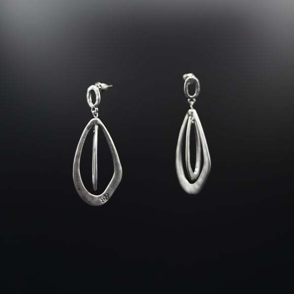 Contemporary Hammered Matt Finish Silver Hanging Earrings - Vz Collection