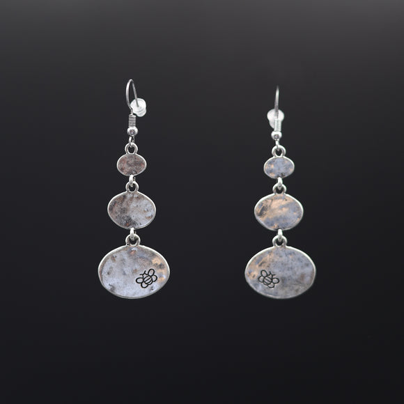 Hammered Matt Finish 3 Oval Earrings - Vz Collection