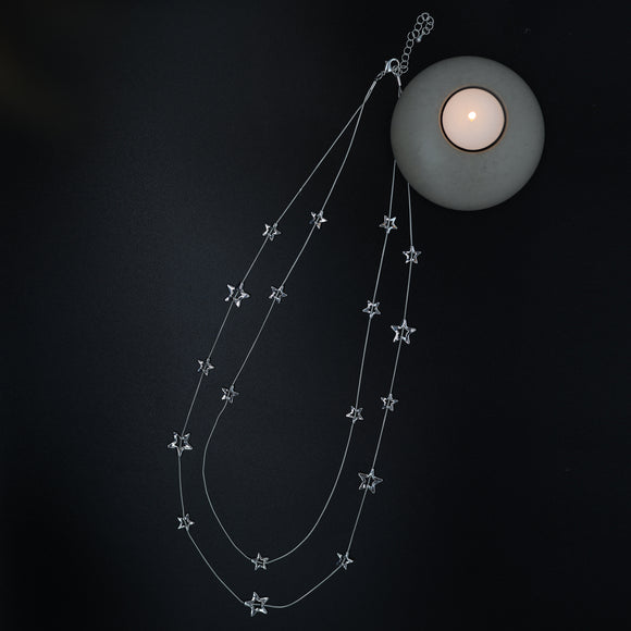 Hammered Stars Long Necklace - Vz Collection