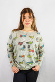 Digital Printed Animated Cats in Grey Jumper - Vz Collection