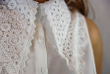 Victorian Style Crocheted Cotton V Neck Collar - Vz Collection