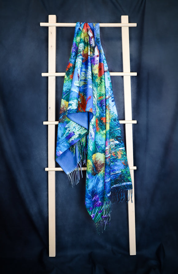Lotus Pond with Colourful Trees Digital Print Scarf - Vz Collection
