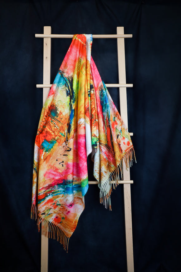 Multi Colour Abstract Heart Digital Print Scarf - Vz Collection
