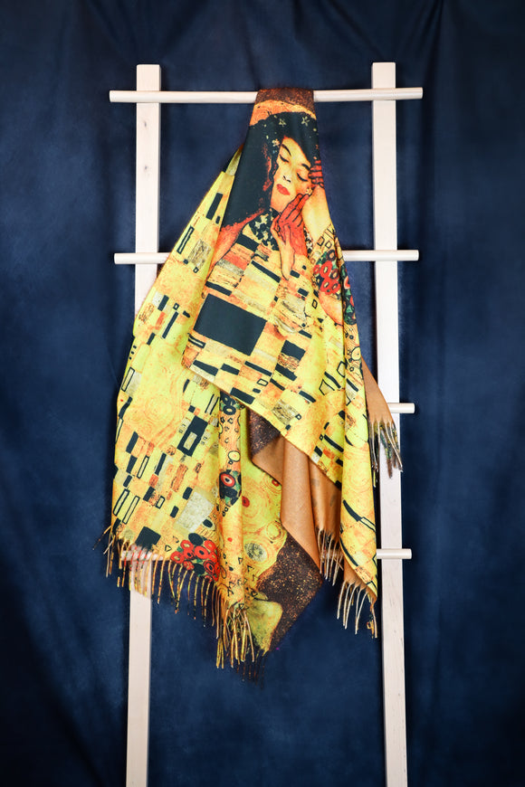 Gustav Klimt's Kiss Digital Print Scarf - Vz Collection