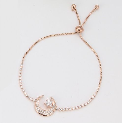 Moon and Star Bracelet with Diamante