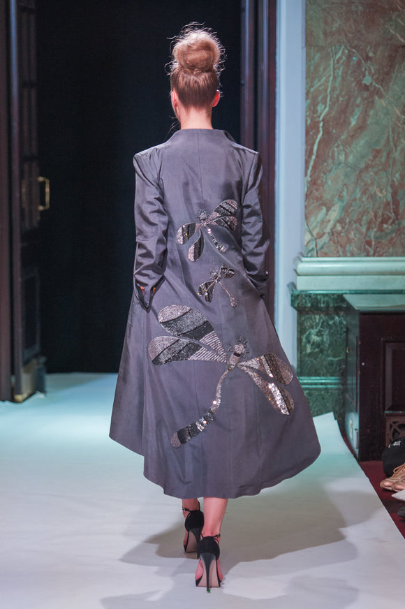 Grey Dragonfly Silk Jacket - Vz Collection