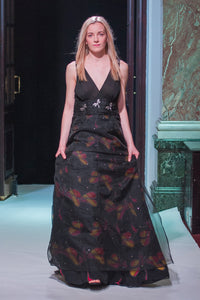 Black Digital Printed Dragonfly Ball Gown - VzCollection