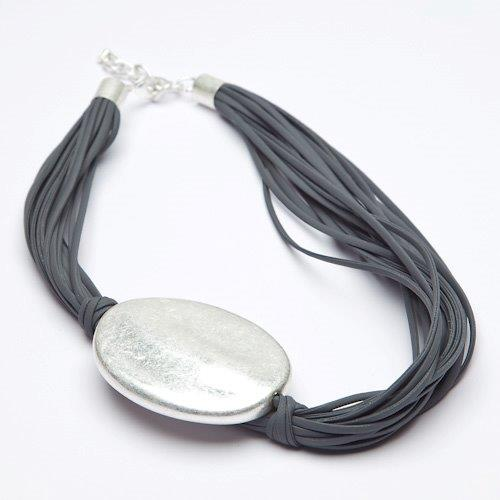 Contemporary Oval Shaped Silver Bead Pendant Necklace - VzCollection