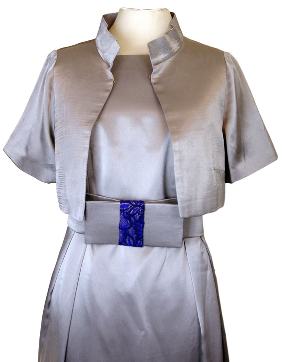 Silver Grey Satin Silk Dress with Box cut Bolero