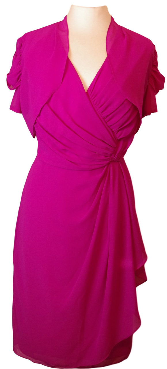 Fuchsia Pink Dress in Georgette With Matching Georgette Bolero - Vz Collection